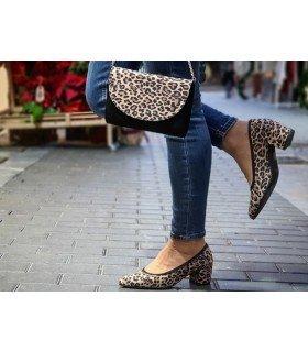 Bolso De Mano Ante Negro y Leopardo